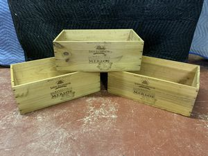 3 Wood Wine Crates - Louis Eschenauer Bordeaux Merlot Stamped for Sale in Lauderdale Lakes, FL