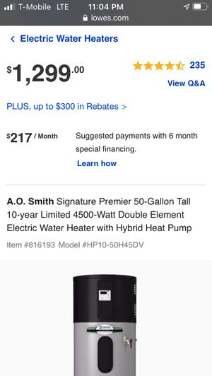 New A.O. Smith Signature Premier 50-Gallon Tall 10-year Limited 4500-Watt Double Element Electric Water Heater with Hybrid Heat Pump Item #816193Mode for Sale in Fort Lauderdale, FL