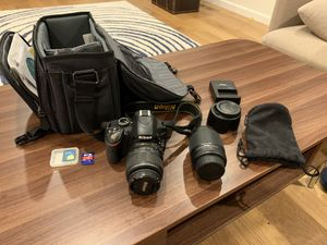 Nikon D3200 Digital SLR Camera with 18-55mm and 55-200mm non-VR zoom lenses bundle for Sale in Redmond, WA