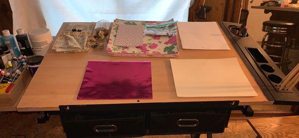 Art desk and art supplies