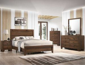 QUEEN BED FRAME NIGHT stand DRESSER AND MIRROR no mattress for Sale in Scottsdale, AZ