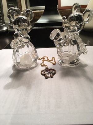 Mickey and Minnie mouse Salt and pepper shakers plus necklace by Lenox Crystal Co. $60 for Sale in Varna, IL