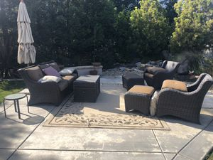 Patio furniture, sofa, two chairs with ottomans, coffee table/storage chest for Sale in Manteca, CA