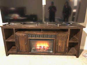 85 Inch TV Stand/Entertainment Center/ Fireplace/Excellent Condition for Sale in Las Vegas, NV