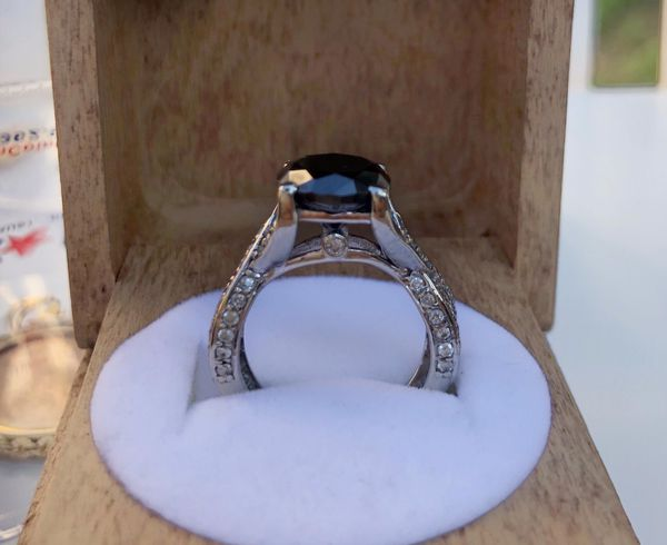 White gold ring black stone real diamonds