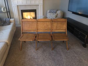 Antique bleacher, movie seat , folding chair bank. for Sale in Puyallup, WA