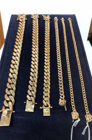 10k 14k 18k 💰 Gold Miami Style Solid Gold Cuban Link Bracelet for Sale in Orlando, FL