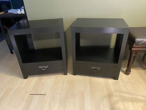 x2 Black Solid wood nightstands w/drawers for Sale in Los Angeles, CA
