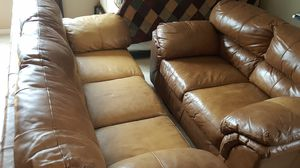 Couch and loveseat leather brown for Sale in Union Park, FL