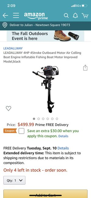 Lead all the way outboard motor 4hp x 4 stroke for Sale in Newtown Square, PA