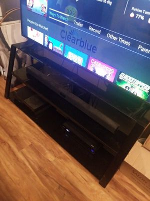 Large Black Glass Entertainment Center for Sale in Tacoma, WA