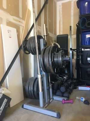 Weight Rack with Barbells for Sale in Corona, CA
