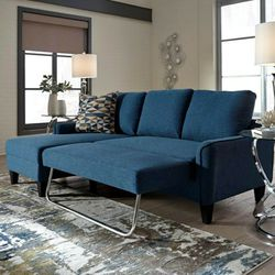 Jarreau Blue Sofa Chaise Sleeper $39 down payment only / for Sale in Arlington,  VA