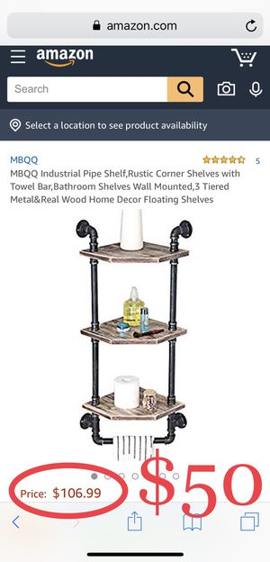 Industrial Pipe Shelf,Rustic Corner Shelves with Towel Bar,Bathroom Shelves Wall Mounted,3 Tiered Metal&Real Wood Home Decor Floating Shelves for Sale in Fontana, CA