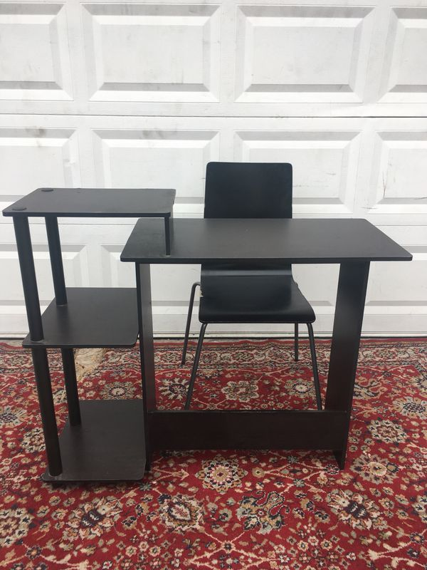 Small Black Brown Desk with Chair