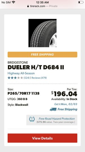 Bridgestone duller HT P265-70-17 (65,000 mile warranty) $119.00 each—WE DELIVER ONLY for Sale in Anaheim, CA
