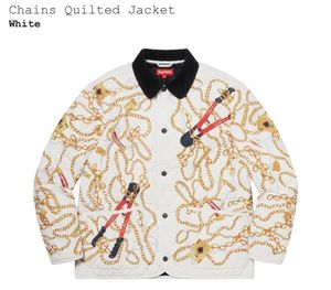 Brand new never used SUPREME chains quilted jacket white size medium m for Sale in Fountain Valley, CA