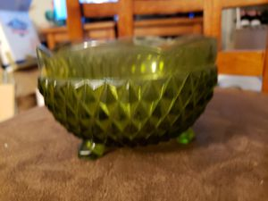 Vintage green glass candy or serving bowl with feet for Sale in Stow, OH