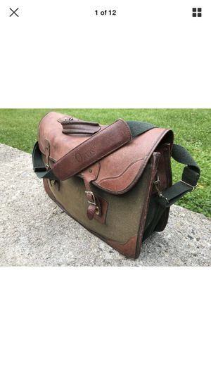 VTG Orvis Mens Green Canvas & Brown Leather Messenger Bag Briefcase Made in USA for Sale in Madison Heights, MI