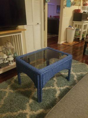 Coastal blue wicker coffee table for Sale in Melbourne, FL