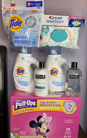 Tide Free & Gentle Huggies Pull Ups Crest sensitivity Tresemme Pro Pure Pampers Wipes Bundle for Sale in Oxford, MI
