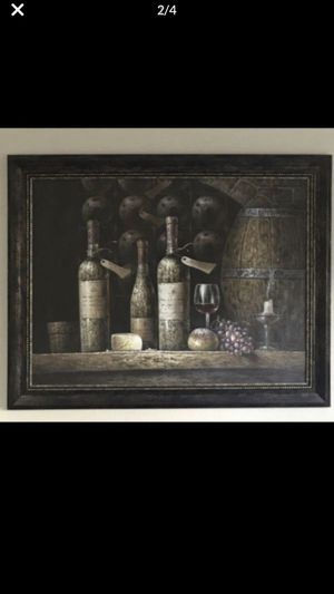 Huge rustic wine & cheese painting. Framed beautifully!!! for Sale in Temecula, CA