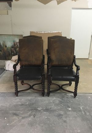 Antique suede back leather bottom solid wood chairs for Sale in Las Vegas, NV