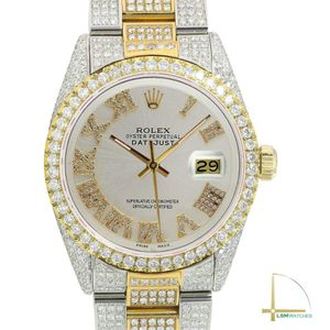 Rolex Datejust 36mm Mens TwoTone Silver Diamond Roman Fully Loaded Real Diamonds for Sale in Los Angeles, CA