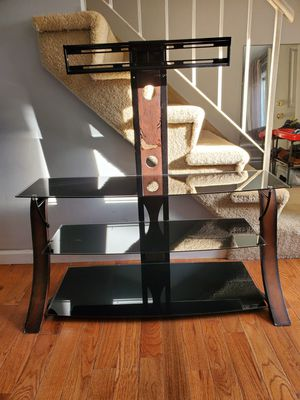 3 tiers glass shelves TV stand with wall mount light weight easy to move anywhere for Sale in Bolingbrook, IL