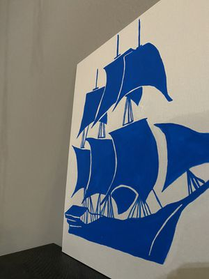 Acrylic paint Blue Sailing Boat. for Sale in San Jose, CA