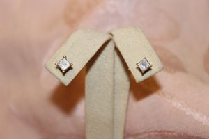 Solid 14kt Yellow Gold Diamond Stud Earrings for Sale in Gilbert, AZ