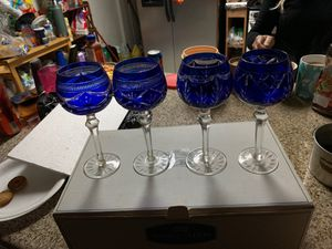 Royal gallery collection blue cased hock wine glasses. for Sale in Fresno, CA