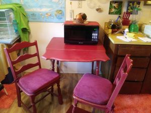 Farm house kitchen table and 2 chairs in barn red finish for Sale in Newberg, OR