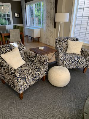 Bassett Blue Paisley Club Chairs—PAIR for Sale in OR, US