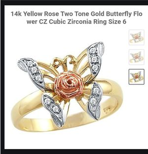 NEW Nuevo Women's Gold Plated Butterfly Cubic Zirconia Ring Size 6 in Plastic Package for Sale in Modesto, CA