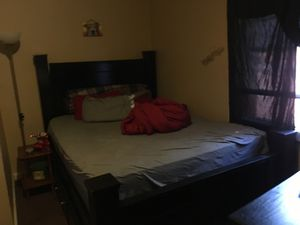Black bed frame and new mattress queen used a couple months for Sale in Schenectady, NY