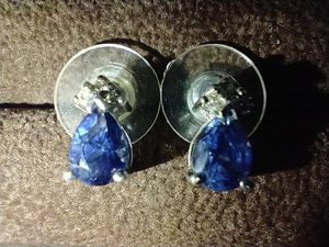 Lab Created Sapphire Stud Earrings with Natural Diamonds for Sale in Vancouver, WA