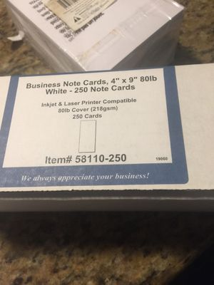 """Business Note cards 4""""x9"""" white/ 200 pack super thick index cards for Sale in Sunrise, FL"""