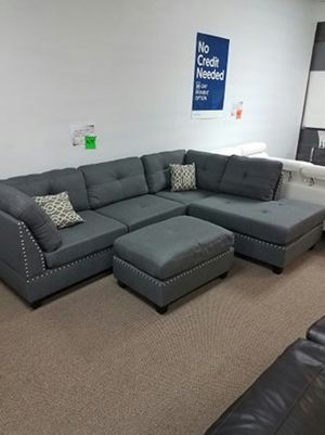 3-pcs Sectional Polyfiber w/ Ottoman for Sale in Irving, TX