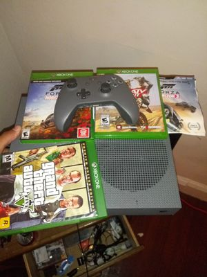 I have Xbox one S Gray in perfect condition only 2 months of use you have online pass forza horizone 3 and the 4 GTA5 Premium atv vs mx for Sale in Trenton, NJ