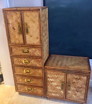 Mid century antiques bamboo brass nightstand and small dresser for Sale in Pompano Beach, FL