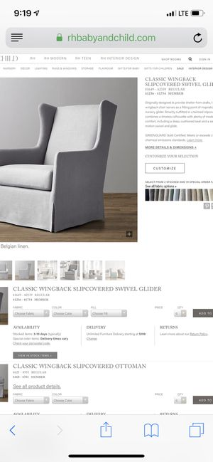 Restoration Hardware Rocking/Gliding Chair for Sale in Rockville, MD