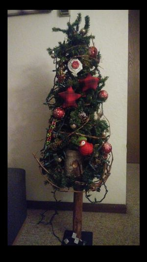 Hand made 4ft high Christmas tree prelite and decorated for Sale in Owatonna, MN