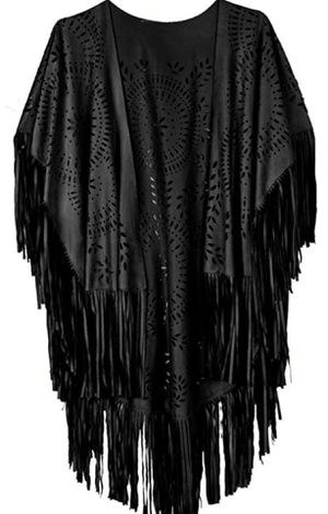 One size Black Suede cut out fringe cape kimono shaw wrap cover up for Sale in Phoenix, AZ