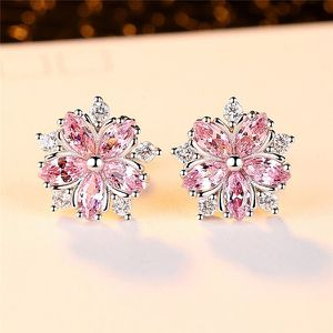 pink topaz and cz diamond sakura flower earrings for Sale in Los Angeles, CA