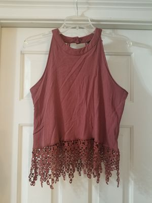 rue21 Crop Top With Embroidered Detail And Fringe, Medium for Sale in Lexington, SC