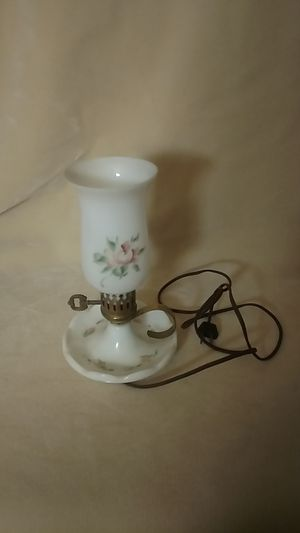 Antique white milk glass lamp with flowers for Sale in Osage, MN