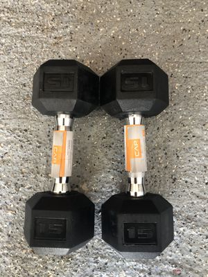 BRAND NEW CAP 15LB PAIR OF RUBBERIZED HEX DUMBBELLS WEIGHTS 15 pound for Sale in Nahant, MA
