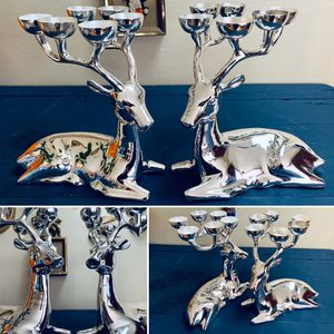 Vintage Polished Stainless Steel Holiday Reindeer Tabletop Candelabra Pair for Sale in Portland, OR