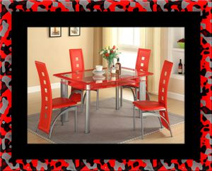Glass red dining table with leather chairs for Sale in Potomac, MD